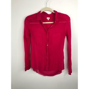 Aritzia Wilfred Silk Sheer Button Down Hot Pink